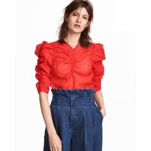 H&M Georgette V Neck Blouse in Bright Red 4